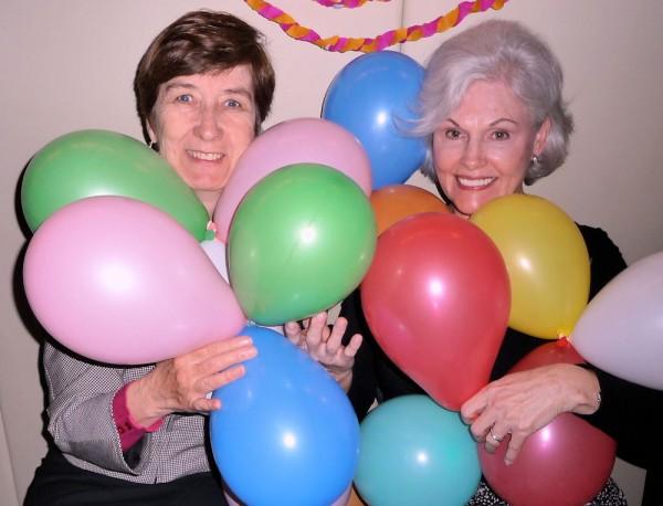 Sister Bagozzi and Sister Bailey with Balloons