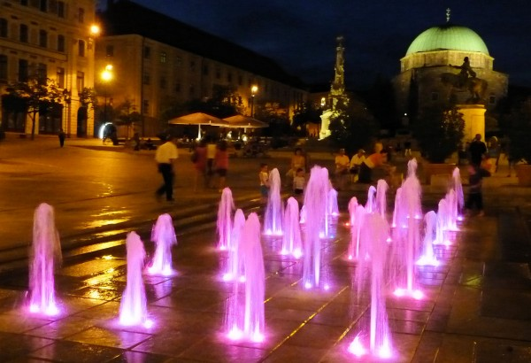City Square (Belvaros) at Night with Fountain