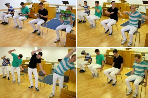 Elders Performing a Coordinated Dance Routine