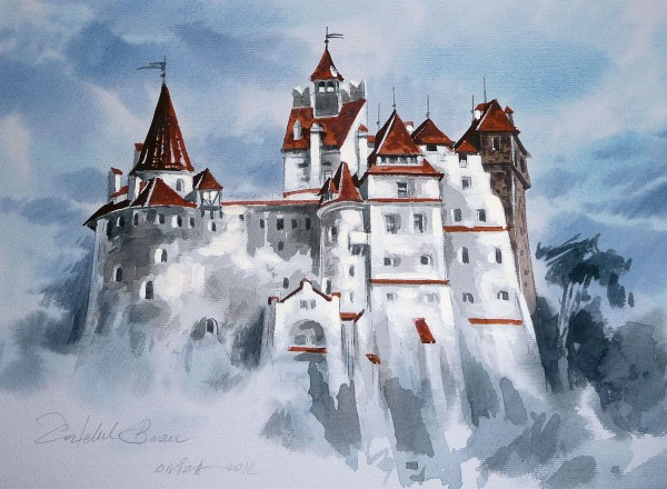 Watercolor Picture of Dracula's Castle