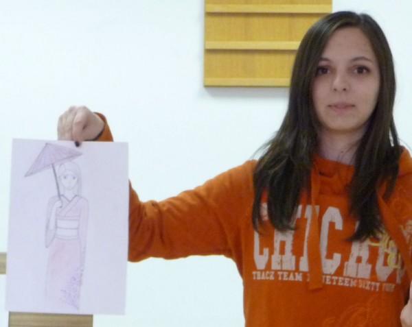 Zita Showing Her Art